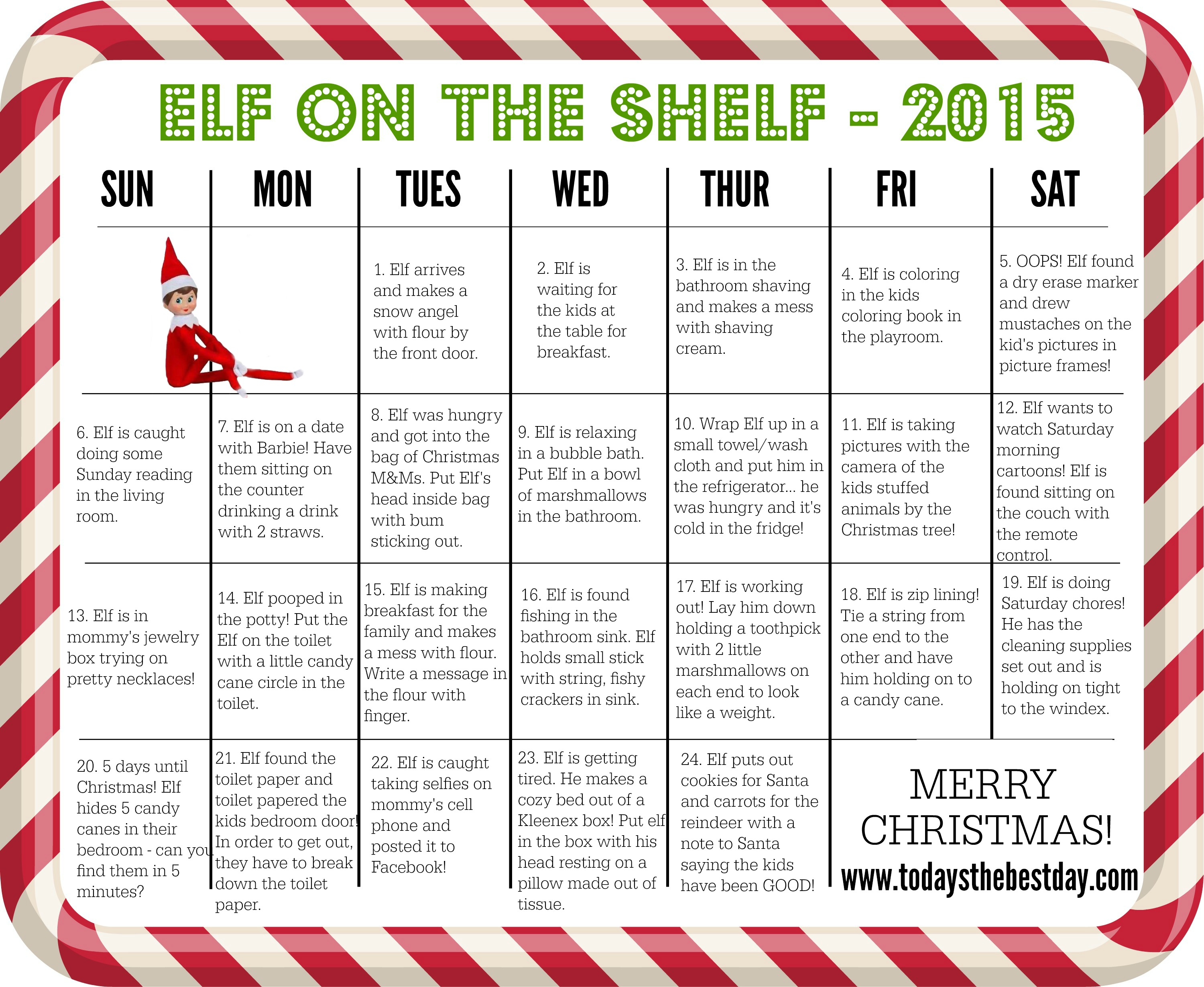 Elf on the Shelf – Ideas, Information and Calendar - Today\'s the ...