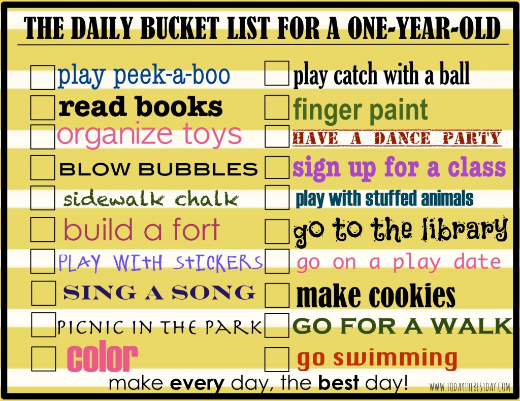 The Daily Bucket List for a One Year Old
