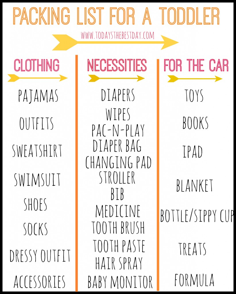 Packing List for A Toddler