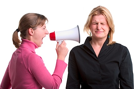 Shouting with a megaphone