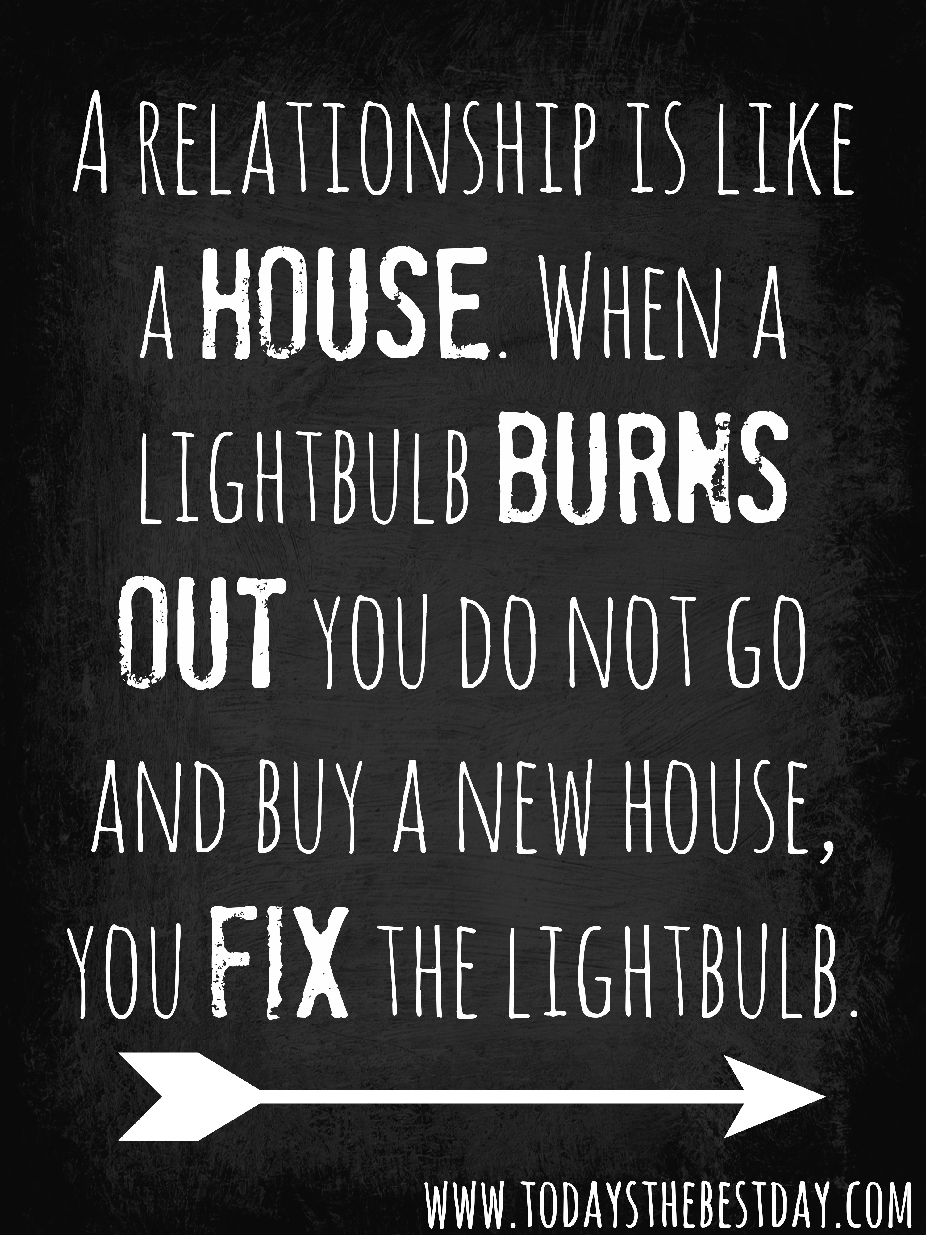 House when a lightbulb burns out you do not go and buy a new house