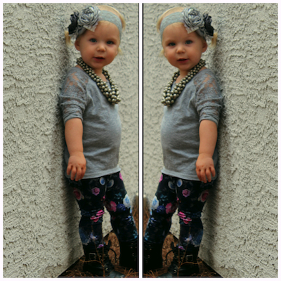 Lace top, floral leggings with combat boots  LOVE copy
