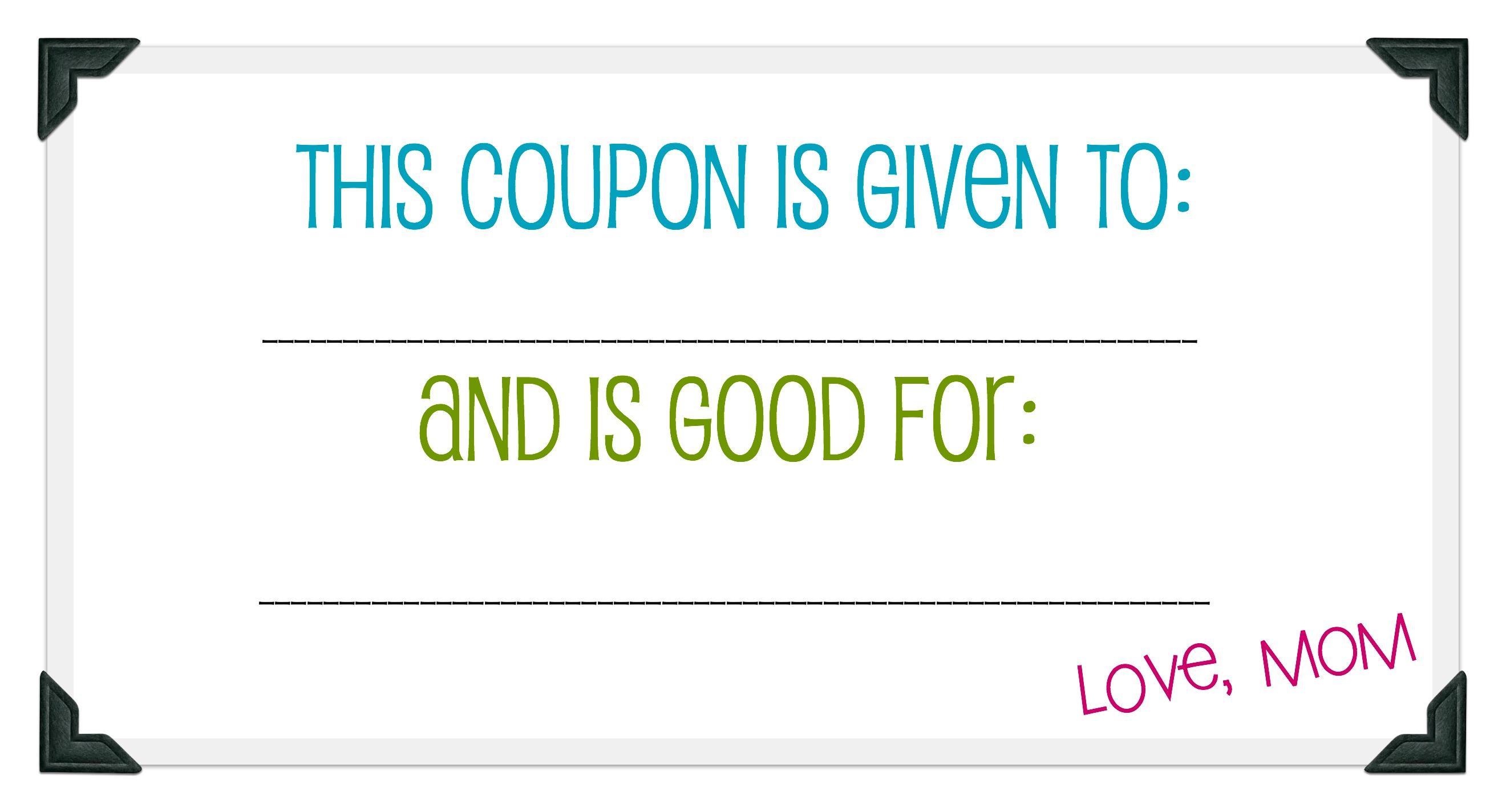mommy madness day today s the best day no family member is too young to receive a coupon book in fact here are a few ideas for different coupons you can make depending on the ages of your