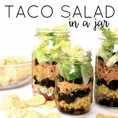 Taco Salad In A Jar - just pour in a bowl and mix! Perfect for dinner or lunch on the go! For family travels, picnics or even a cute way to make dinner for a friend in need!