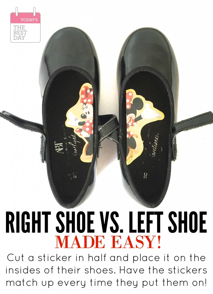 Right Shoe vs Left Shoe - SUCH a good idea for teaching toddlers how to put on their shoes correctly!
