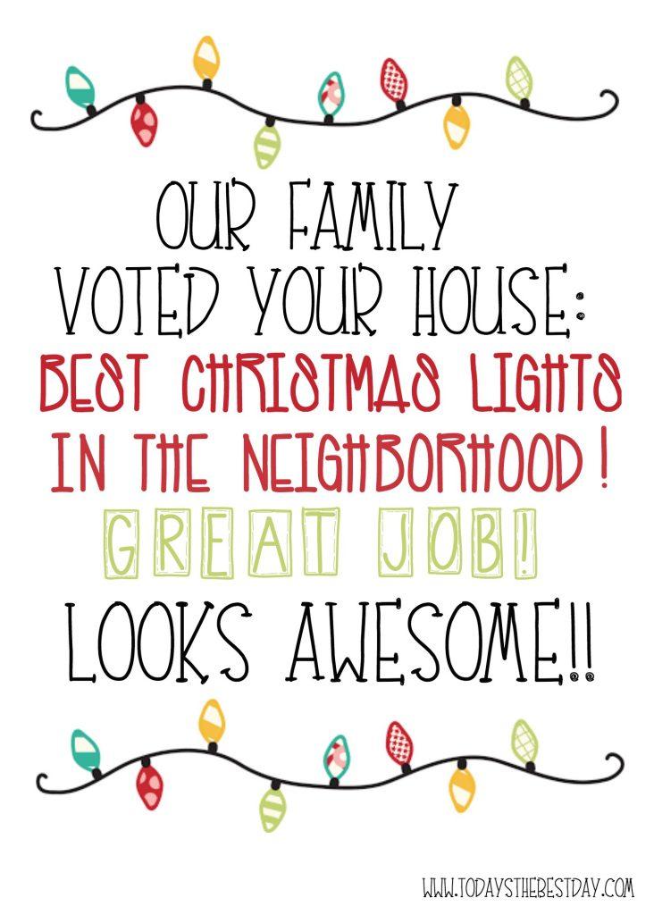 BEST CHRISTMAS LIGHTS AWARD PRINTABLE