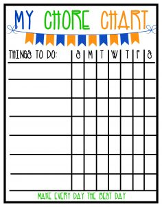cleaning chart for home